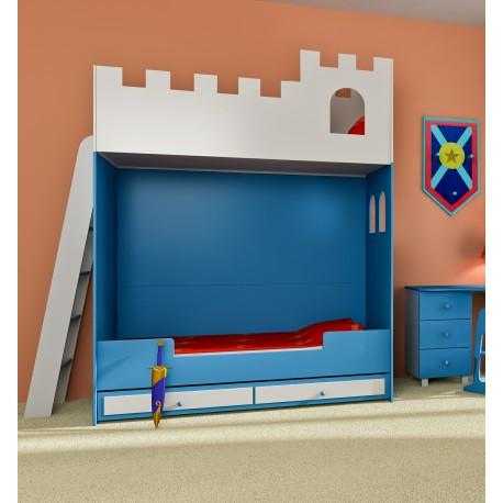 Detská poschodová posteľ ZÁMOK s rebríkom