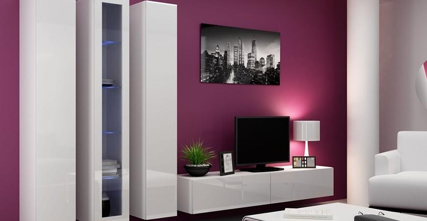 Obývací stěna VIGO II - bílý mat + bílý lesk